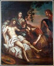 """Ancien Tableau """"La Déploration Du Christ"""" Peinture Huile Antique Oil Painting"""