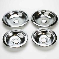 Drip Pan Set Chrome for Frigidaire Range Oven - 2 x 316048413 + 2 x 316048414