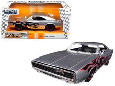 1/24 Jada 1968 Dodge Charger Silver with Flames BigTime Diecast Silver 99367