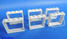 Lego fenêtre 1x4x3 Cadre Blanc / avec insert en verre transparent clair / 6