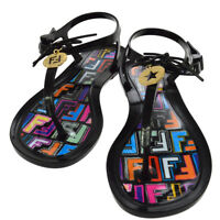 Auth FENDI Zucca Sandals Shoes Black Patent Leather #35 Italy Vintage YG02021
