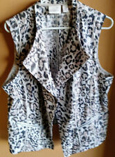 Chico's Gray/Taupe/Ivory/rose Animal Print Linen Rayon Open Vest - Size 3 - EUC