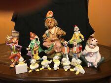 "13 piece porcelain clown figurines -2 music boxes, 1-13"" Hech A Mano Guzman fig."