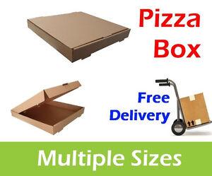 100 Plain Brown Pizza Boxes, Takeaway Pizza Box, Postal Boxes, Multiple Sizes