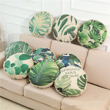 """18"""" Round Sofa Seat Cushion Cover Tropical Plant Pritned Linen Throw Pillowcase"""