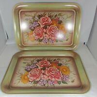 Vintage Mid Century Serving Tray Tin Metal Green Roses Flowers TV Lap Set of 2