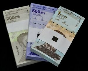 Venezuela Bolivares SET 3 Packs (300 PCS) 1 Each 200k, 500k & 1 Million New Unc.
