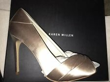 Karen Millen UK 7 EU 40 Champagne Peep Toe Satin Pleated High Heels BNIB RRP£125