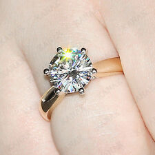 2 CT Round Cut Diamond 10k Yellow Gold Six Claw Solitaire Engagement Ring