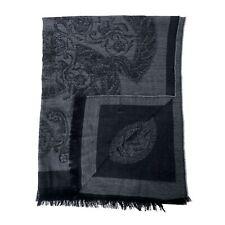 Versace 100% Wool Black Gray Unisex Scarf