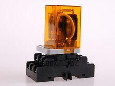 1set Jqx 38f Ac 220v 40a 11 Pin 3pdt Coil Power Relay With Base Socket