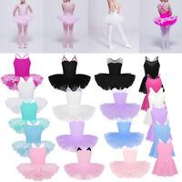 Girls Child Ballet Leotard Tutu Dress Ballerina Sleeveless Dancewear Gym Costume