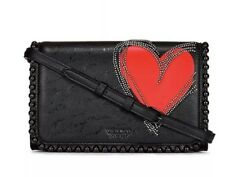 Victoria's Secret Black With Red Heart Crossbody Bag, New.
