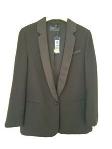Womens Black M&S Tuxedo Jacket Size 12