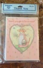 "8 Vintage Unopened ""How'd You Get So Nice"" Spring Cat In Dress Thank You Cards"