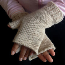 Fair Trade Fingerless Beige Alpaca Mittens