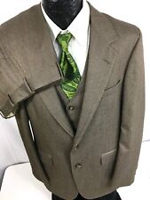 3 pc Vtg Bill Blass Men Brown HERRINGBONE Pin Stripe Wool Suit & VEST 40 L 34/33