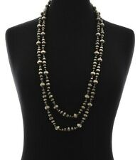 """Long Western Faux Pearl Silver-Tone Necklace 60"""""""