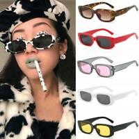 Vintage Small Rectangular UV400 Sunglasses Leopard Square Frame Sun Glasses - UK