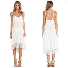 Free People Ivory Star Crochet Trim Tiered Overlay Slip Dress Small Strappy Back