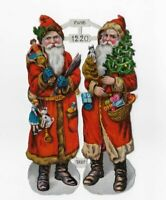 """VICTORIAN SANTA CLAUS, RED COATS CHRISTMAS TREE, FWKB NO.1220 Antique Scrap, 6"""""""