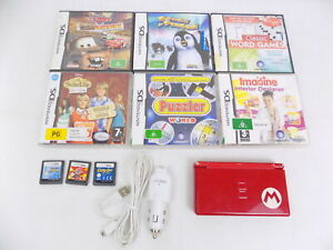 Nintendo DS Lite - Mario Red Special Edition Console +  Charger + 9x Games