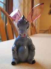 Vintage 1940's Elzac Ceramic Donkey Figurine w/ Lucite Ears - Rare!