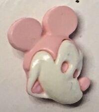 New listing Htf Snap Together 2 Pc Realistic Pink & White Mickey Or Minnie Mouse Button 5/8