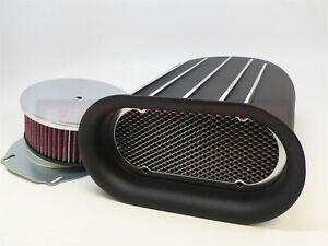Washable Black Aluminum Mini HilBorn Fin Air Hood Scoop 4 BBL Single Blower