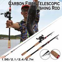 Carbon Fiber Telescopic Fishing Pole Mini Metal Fishing Wheel Spinning Rod Tool