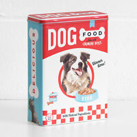 Retro Dog Food 4L Metal Storage Tin Pet Treat Biscuit Kitchen Container Canister