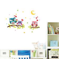 Búho Familia Branch pegatinas de pared Mariposa Calcamonía Arte Decorativo