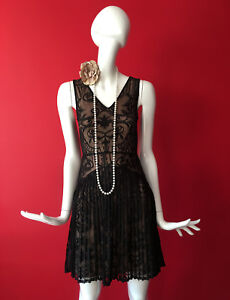 Warehouse Black Lace Flapper Inspired 1920s Gatsby Charleston Dress Size 12 BNWT