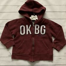 Boys Girls 3 Years - Hoodie - OSH KOSH Burgundy Red Hood Jumper Zip