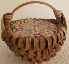 Vintage Miniature Splint Split Buttocks Basket Ash / Oak Cross Stitch PINCUSHION