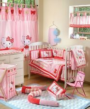 BRAND NEW  4 PIECE HELLO KITTY STRIPED  CRIB BEDDING COT SET
