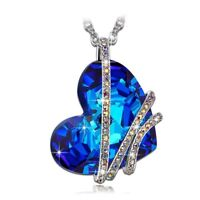 Blue Crystal Heart Necklaces Silver Sea Xmas Gifts For Her Daughter Mother Women