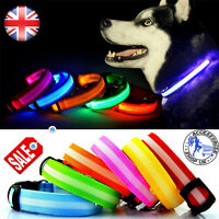 LED Dog Pet Collar Flashing Luminous Adjustable Safety Light Up Nylon Tag