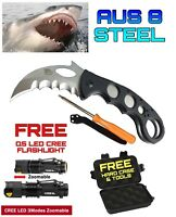 Emergency Search & Rescue Knife D2 Steel Q5 LED CREE Flashlight Hard Case
