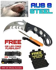 .Survival Knife Search & Rescue AUS8 +Took Kit +Q5 LED CREE Flashlight +Case