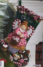 "Bucilla Cupcake Angel Jeweled Felt Applique Christmas Stocking Kit 18"" New"