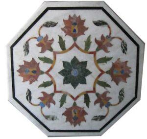 "12"" Marble Coffee Table Top Handmade Pietra Dura Floral Art Handmade Home Decor"