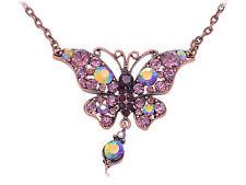 Amethyst Lady Brown Bronze Tone Butterfly Tear Drop Dangle Pendant Necklace