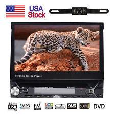 "Single 1DIN 7""HD Flip RDS GPS Navigation Car Stereo DVD Player Bluetooth+Camera"