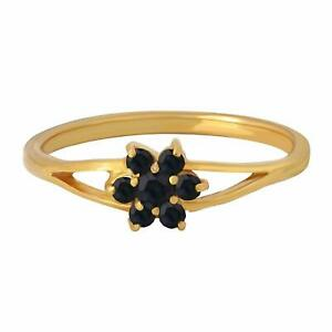 Natural Certified 7 Ct Black Spinel Handmade 14 k Gold Plated Ring For Her