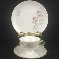 VTG Dessert Plate with Cup and Saucer Bareuther Waldsassen Bavaria Pink Floral