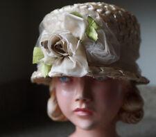 58f0ae398cf Women s Vintage Floral Natural Green Leaf Embellished Cloche Boater Straw  Hat