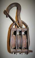VINTAGE Hemp rope 3 / TRIPLE pulley block and tackle hoist Free Shipping Sale