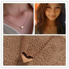 New Gold Plated Heart Stud Love Pendant Necklace Chain Adjustable