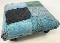 """Vintage 14"""" India Handmade Wood Floral Embroidery Patch Work Foot Stool Ottoman"""